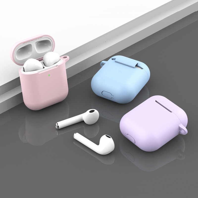 For Airpods 2 TWS Portable Silicone Case for Wireless Bluetooth Headset Protective Cover Anti-lost Earphone box Accessories