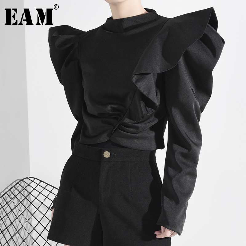 [EAM] Women Ruffles Split Temperament Blouse New Stand Collar Long Sleeve Loose Fit Shirt Fashion Spring Autumn 2020 1M88301