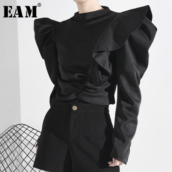 [EAM] Women Ruffles Split Temperament Blouse New Stand Collar Long Sleeve Loose Fit Shirt Fashion Spring Autumn 2020 1M88301