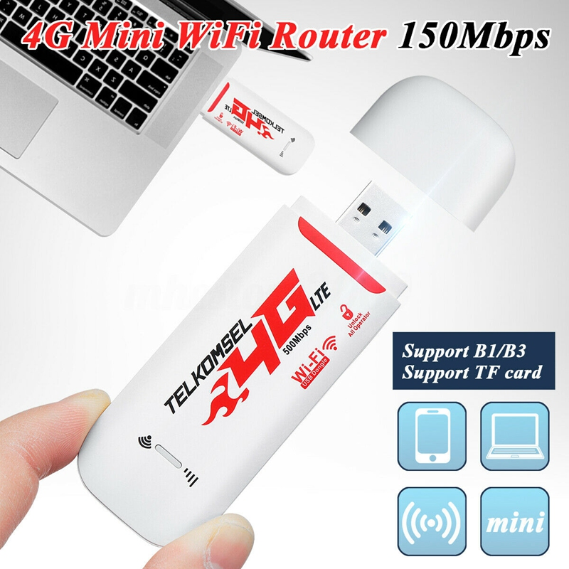 Портативный автомобильный Wi-Fi роутер 4G/3G LTE, точка доступа 150 Мбит/с, беспроводной USB ключ, Мобильный широкополосный модем, SIM-карта разблокиро...