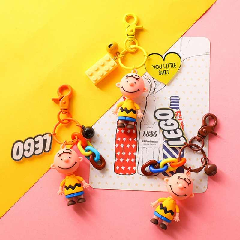 Cute Cartoon Charlie Brown Keychain For Girls Car Or Bag Keyring Anime Key chain Gifts Or Men Key Chain Women creative 2020