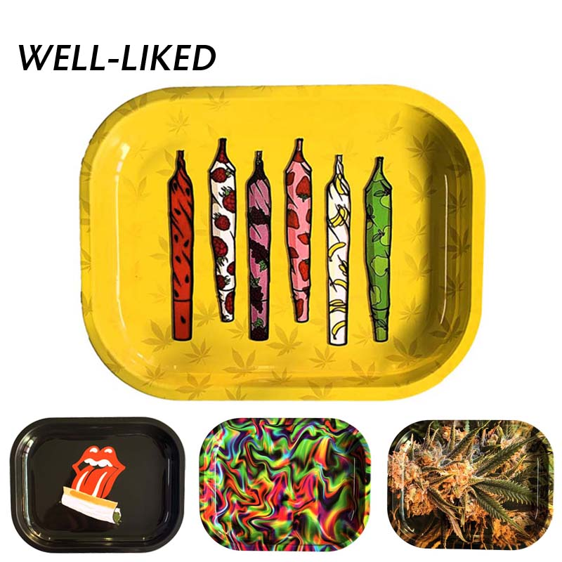 Rolling Tray 180 *140 Mm Handroller Leaves Pattern Yellow Smoking Accessories Rolling Machine Grinder Storage Tray Dropship