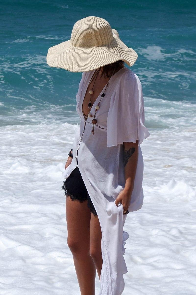 Europe And America Xue Fang Zhou Woven Belt Buttons Beach Skirt One Piece Long Skirts Bikini Outer Blouse Holiday Sun-resistant