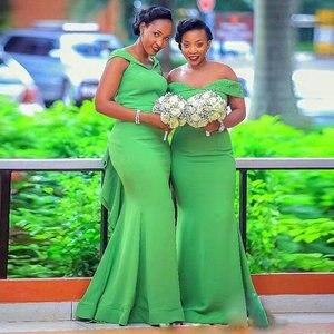 Платье подружки невесты YiMinpwp, оливково-зеленое платье подружки невесты с открытыми плечами и оборками, платье подружки невесты со шлейфом