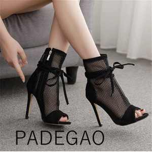 Image 1 - 2019 Luxury  Zip  Ankle  Basic  Peep Toe  Super High Boots for Women  Thin Heels Summer Shoes