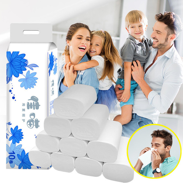 Toilet Paper NEW Strong Soft 4-Ply Toilet Paper Bath Tissue Giant Roll 10 Rolls Dropshipping FD 1