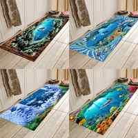 Дельфины и киты подводный мир с цифровым 3d-рисунком фланелевый дверной коврик, прикроватный коврик, коврик для ванной комнаты