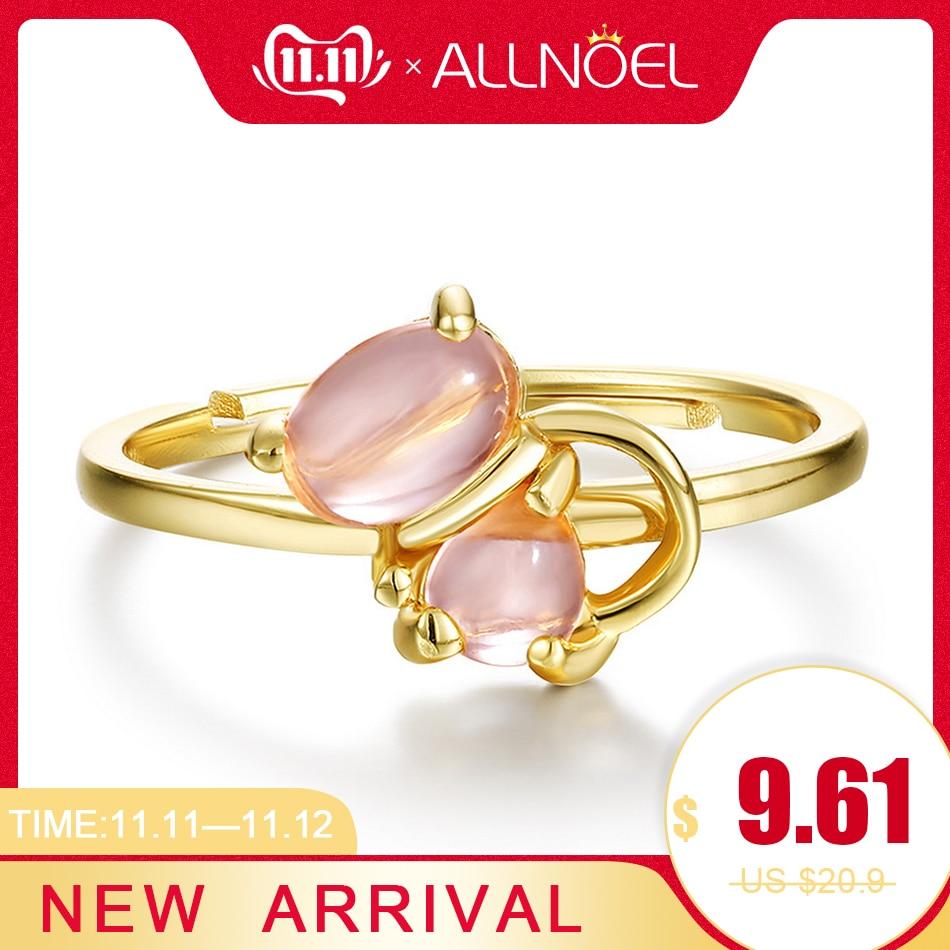 ALLNOEL 925 Sterling Silver Personalized Gemstone Ring For Women Rose Quartz Gold Fine Finger Ring Jewelry Animal Cat Adjustable