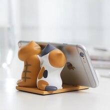 لطيف القط الهواتف المحمولة دعامة حامل قاعدة الهاتف أقراص Kawaii دعامة حامل مكتب الديكور ل فون XiaoMi هواوي لباد