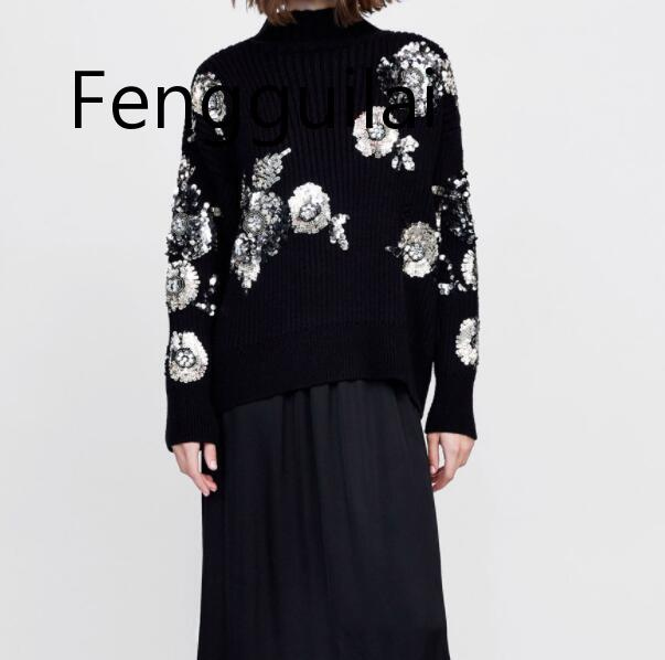 FENGGUILAI 2019 femmes paillettes fleur tricoté chandail lâche col roulé paillettes perles pulls pull hiver épais hauts noirs