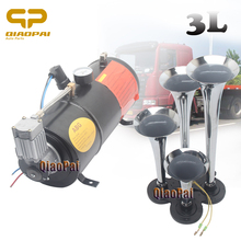 Car Air Horn Compressor 12V 3L Train Trumpet Boat Vehicle 12v Auto 150PSI with 4 pipe air horn
