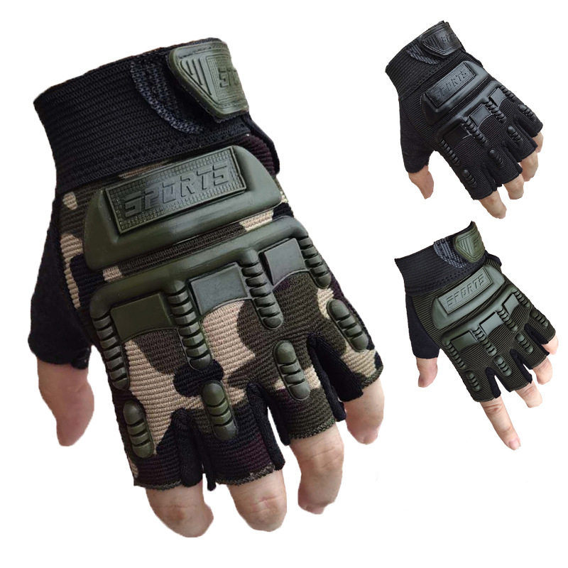 2PCS Children Army Tactical Half Finger Bicycle Gloves Camouflage Military Outdoor Sports Cycling Climbing Fitness Kids Gloves