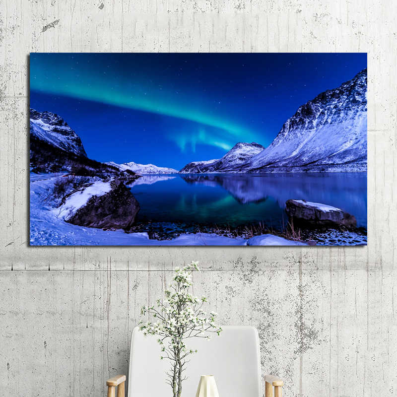 Northern Lights Moon Mountain Landscape Wall Art Large Poster /& Canvas Pictures
