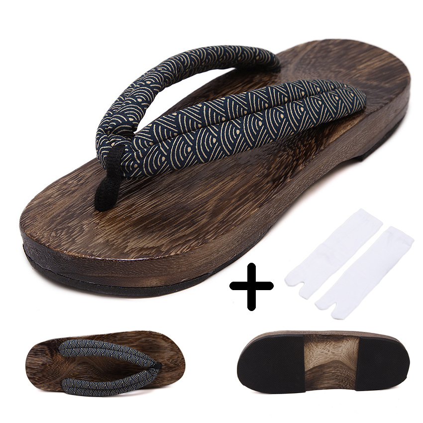 Man Wooden Outdoor Slippers Beach Wear Flip Flops Japanese Traditional Clogs Geta Kimono Samurai Cosplay Paulownia Shoes Flats