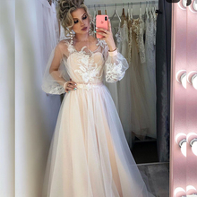 Wedding-Dress Bridal-Gowns Champagne Lace Appliques A-Line Women for Charming