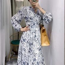 Женское платье с леопардовым принтом, длинным рукавом и V-образным вырезом