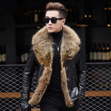 Boollili Winter Jacket Men Genuine Sheepskin Leather Jacket 90% Duck Down Jacket Real Raccoon Fur Collar Coat Mens Clothing(China)