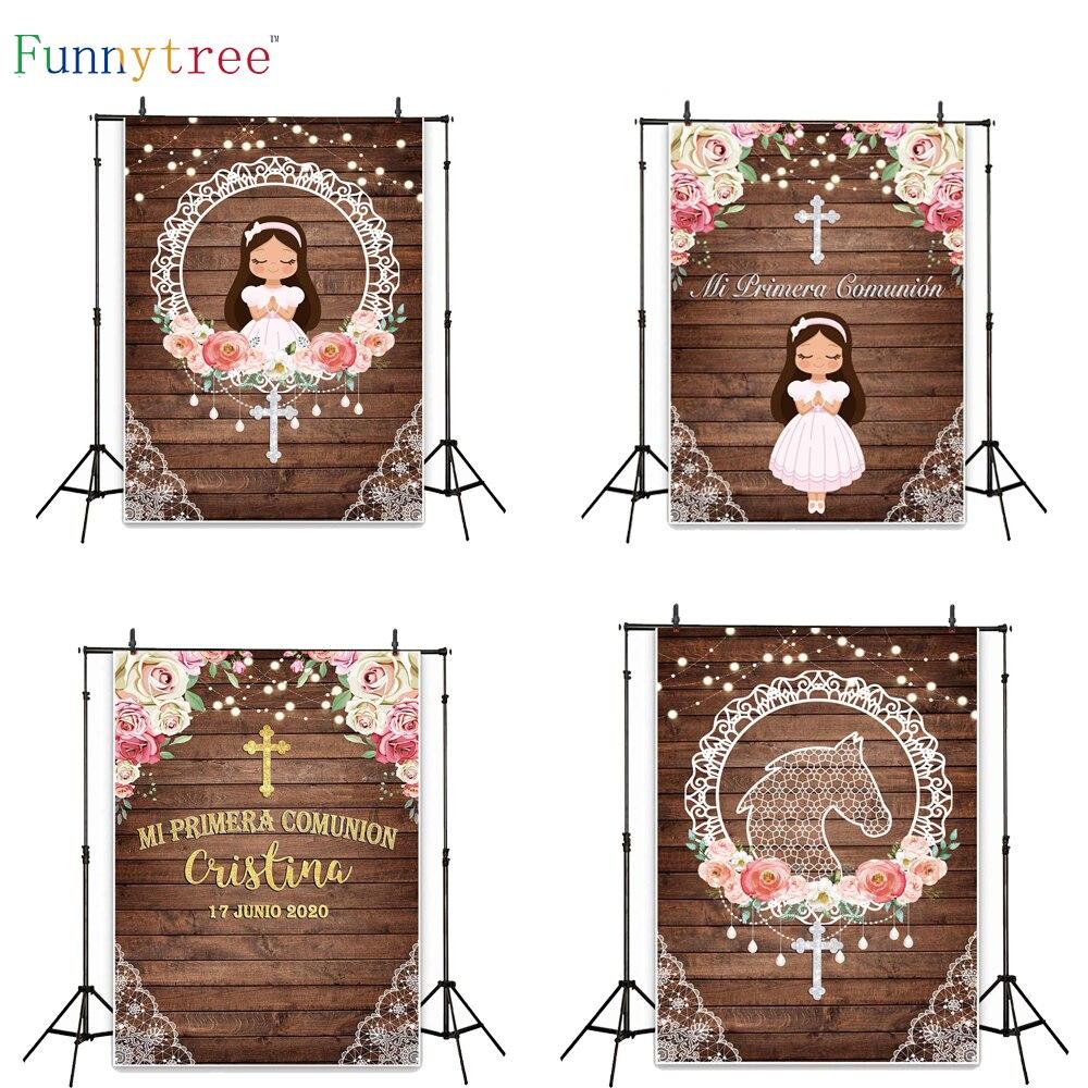 Фон Funnytree для первого причастия, фотозона, фотография на годовщину, лошадь, роза, девушка, фон, фотосессия, день рождения, детский плакат, фото...