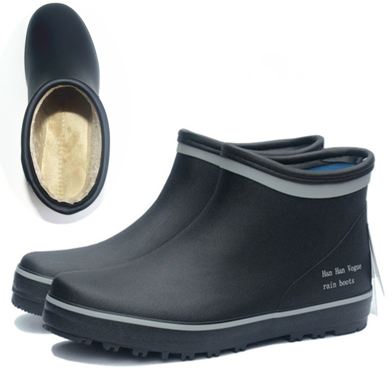 EXCARGO Short Tube Rubber Boots Men Waterproof Water Shoes 2020 New Male Rainboots With Fur Sock Ankle Rainboots For Men