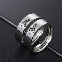 Ring Couple Gift Stainless-Steel Valentine's-Day-Anniversary Silver-Color Romatic-Design