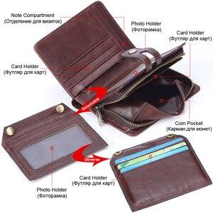Image 3 - Flanker portefeuille 100% cuir véritable, Rfid, marque décontracté, court, porte monnaie, petits portefeuilles, fermeture éclair, sac à main