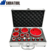 SHDIATOOL 1set/13pcs  M14 Thread Vacuum Brazed Diamond Drill Core Bits With Box Granite Marble Drilling Bit Ceramic Hole Saw