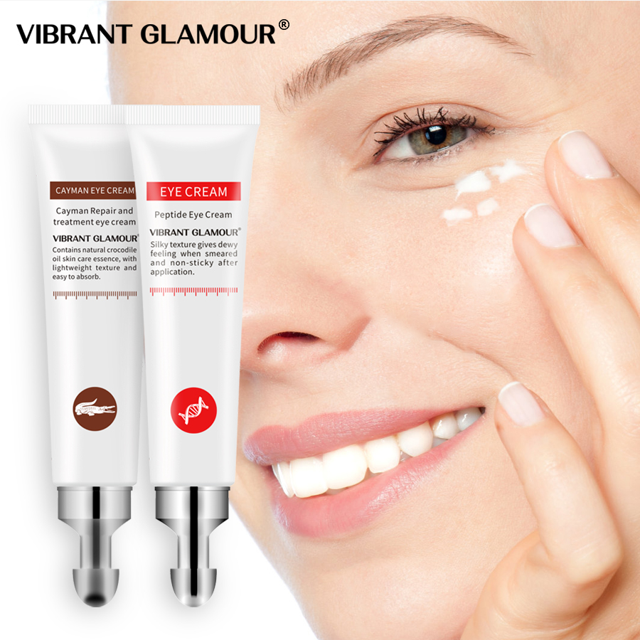 VIBRANT GLAMOUR Eye Cream Peptide Collagen Crocodile Cream Anti-Wrinkle Remover Dark Circles Against Puffiness Bags Eye Care2PCS
