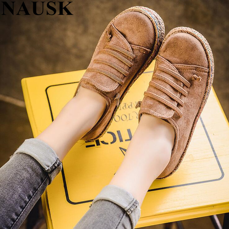 NAUSKNAUSK Flat Shoes Women Autumn Shoes Woman Casual Lace-up Flats Comfortable Round Toe Loafers Shoes Fashion Flat Shoes