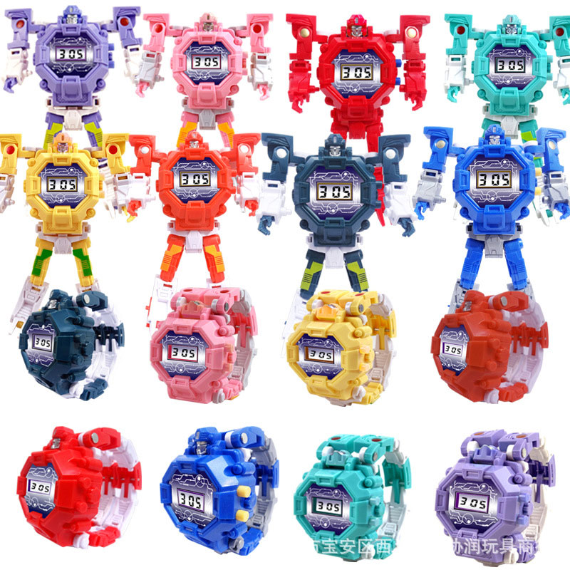 2019 New Fashion  Deformation  Electronic Kids Watches  Toy  The Robot  Cartoon  Children Watch