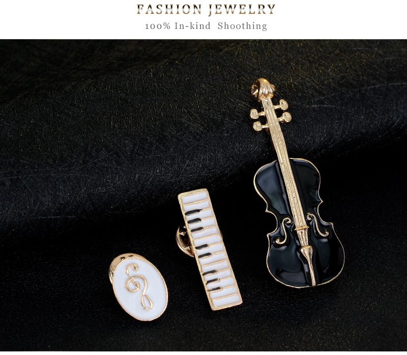 Musical Instruments Set: Violin Keyboard Treble Clef Brooches Enamel Pins 11