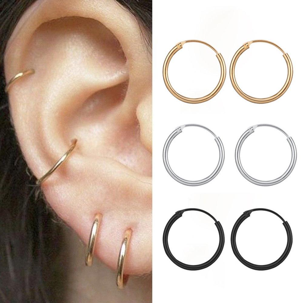 Yobest 2020 New Vintage Rose Gold Multiple Dangle Small Circle Hoop Earrings for Women Jewelry Steampunk Ear Clip Gift
