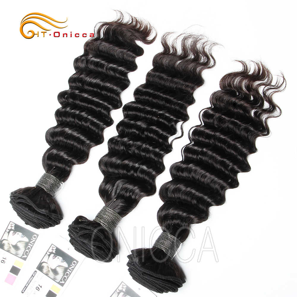 Peruvian Deep Wave Hair Bundles Hair Extension Natural Color 100% Human Hair Weave Bundles 1/3/4 Pieces 8-24 inch Non-Remy Hair