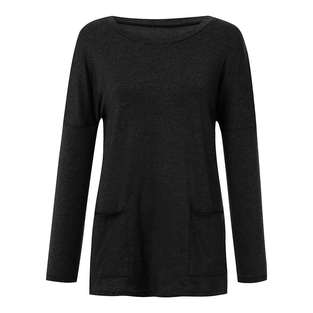 Womens Solid Warm Long Sleeve Sweatshirt Loose Pocket Daily Pullover Tops #4O08 (18)