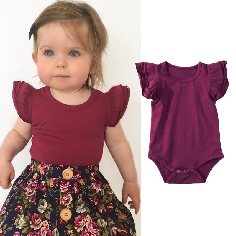 Sweet Newborn Rompers Baby Girls Ruffles Bodysuit Summer Infant Cotton Leotard Tops Kids Clothes