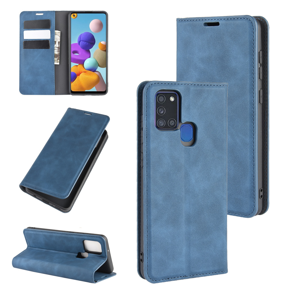 A217 Auto Switch Leather Case For Samsung Galaxy A21S (6.5In) SM-A217F Flip Wallet Book Cover Black 217A A 21S 217 Galaxya21s