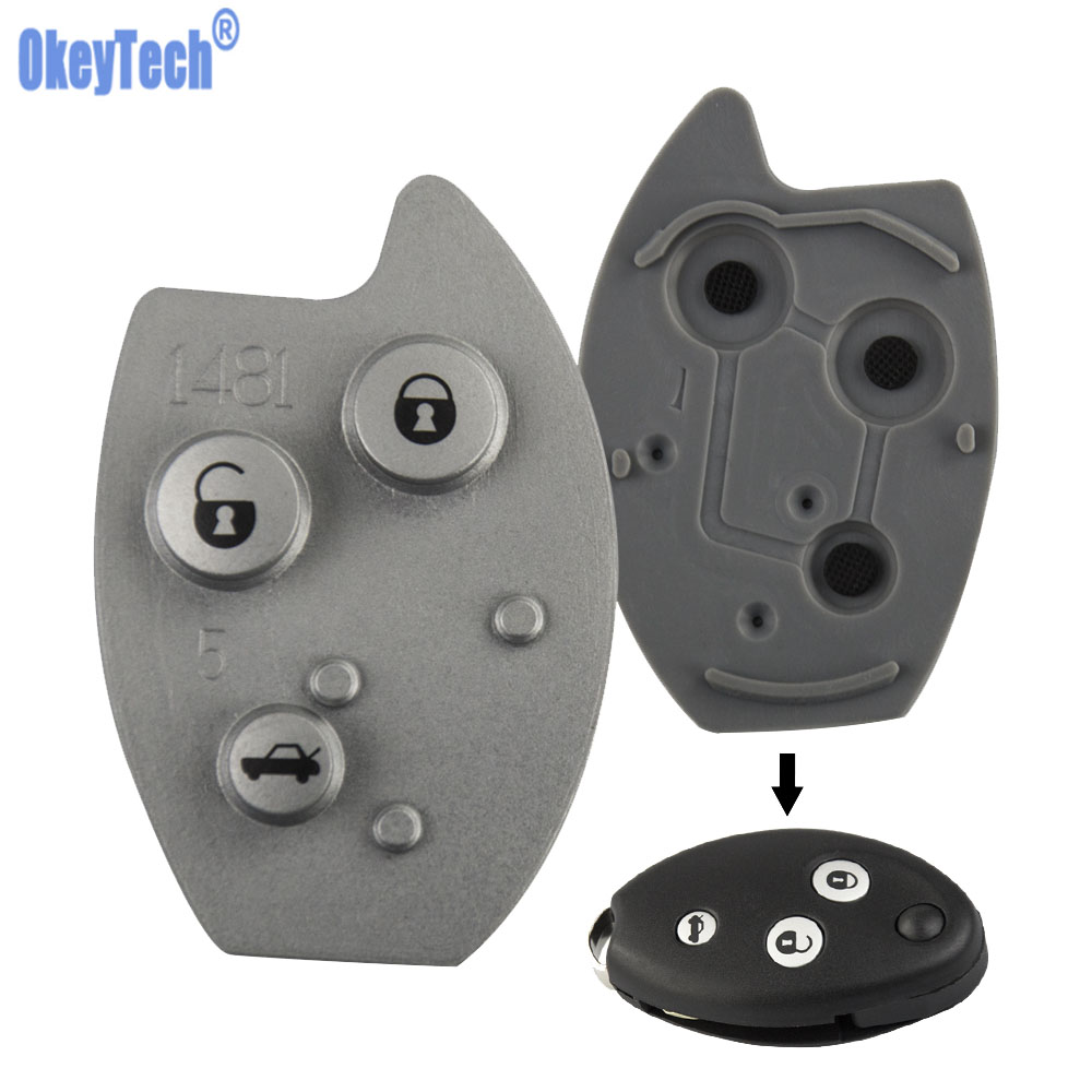 OkeyTech For Citroen Elysee Saxo Xsara Picasso Berlingo C5 Key Remote Car Key Case Pad 3 Button Flip Key Mat Rubber Button Pad