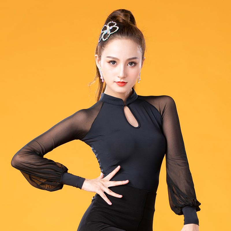 Classical Women'S Ballroom Latin Dance Tops Sexy Mesh Long Sleeved Cha Cha Samba Rumba Practice/Performance Dance Clothes DL4964