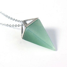 FYJS Unique Silver Plated Square Pyramid Pendant Original Green Aventurine Necklace Link Chain Jewelry