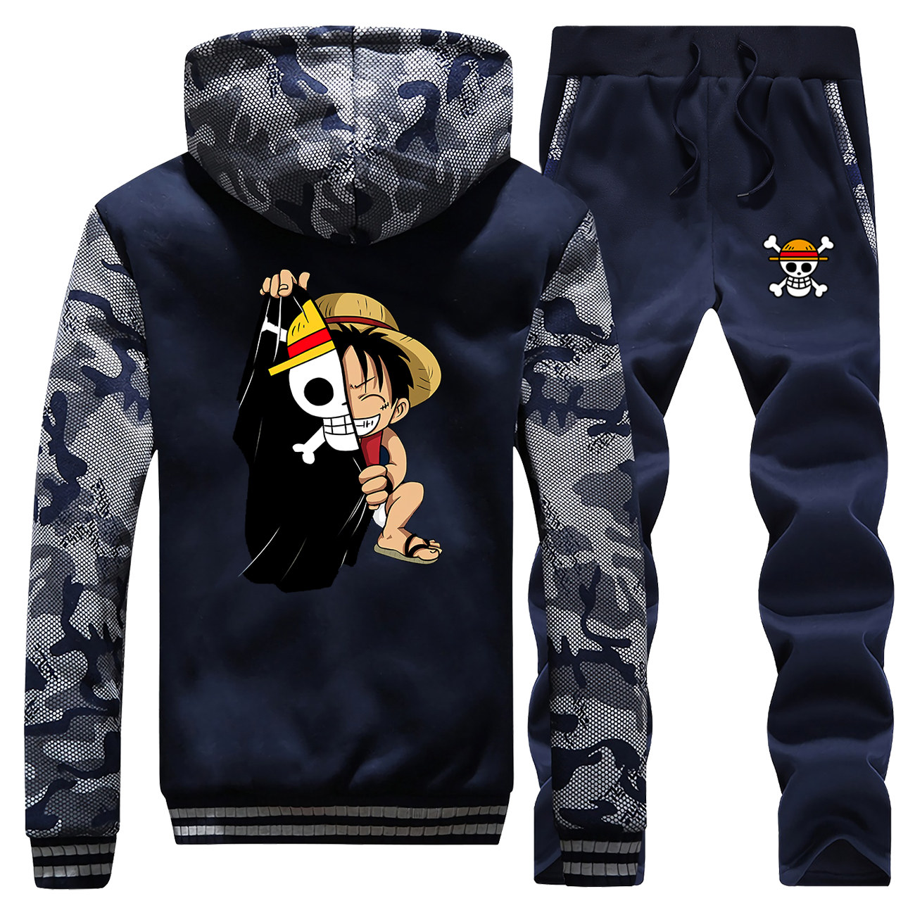 Sweatshirts Winter 2019 Hooded Mens Raglan Camouflage Luffy Cartoon Coat Thick Suit One Piece Jacket Zipper+Pants 2 Piece Set
