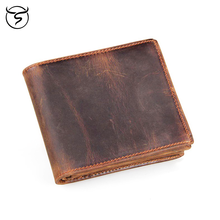 Genuine leather men wallet simple Vintage crazy horse leather short bifold purse man card holder zipper coin pocket male wallets