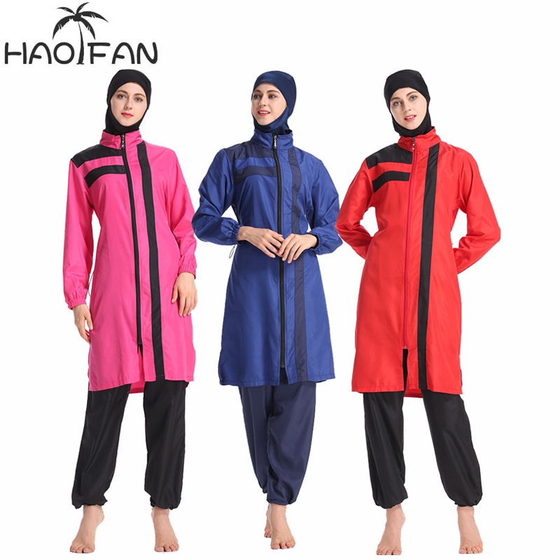 HAOFAN New 2019 summer stitching style Burkinis muslim swimwear  hijab Conservative Muslimah Swimsuit Beach Swimming Islamic 3XLMuslim  Swimwear