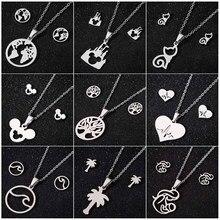 SMJEL – collier à chaîne en acier inoxydable pour femme et fille, accessoire tendance, motif arbre à chat, vague, cœur, souris, carte du monde, cadeau du nouvel an