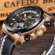 2019 LIGE Men Watch Fashion Automatic Mechanical Tourbillon Leather Luxury Brand Sport Waterproof Watches Mens Relogio Masculino