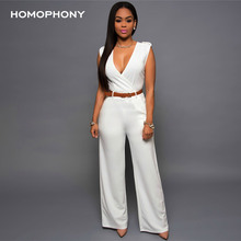 HOMOPHONY Women High Waist Jumpsuit Office Ladies Elegant Party Solid V neck Playsuit Summer Sleeveless Evening Party Jumpsuit