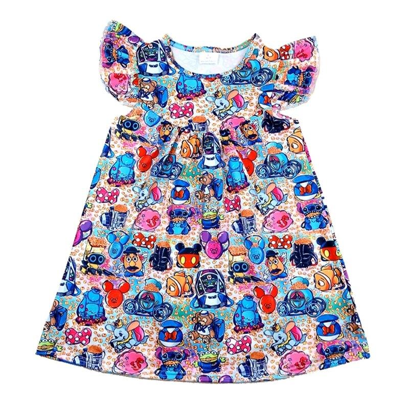 En gros 2020 printemps/été bébé enfants robe de bande dessinée Boutique filles doux Milksilk perle robe pour enfants filles 12M à 7T
