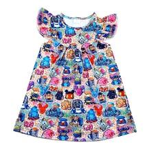 Wholesales 2020 봄/여름 베이비 키즈 만화 드레스 부티크 여자 소프트 Milksilk 진주 드레스 어린이 소녀 12M 7T