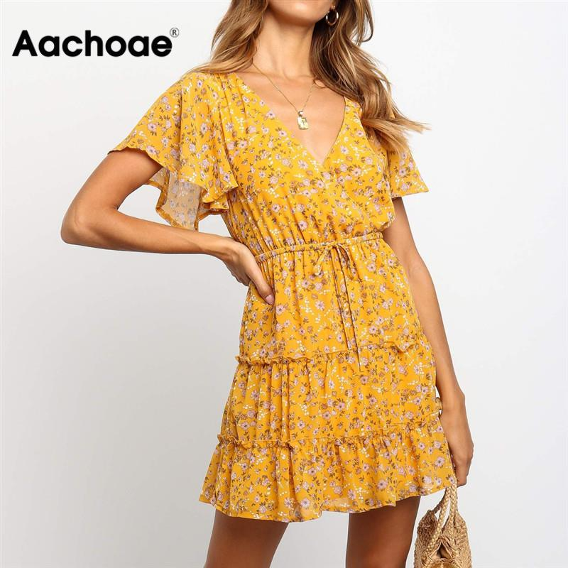 Summer Beach Dress Boho Style Women Floral Print Chiffon Dress 2020 Sexy V-neck Short Sleeve A-line Mini Party Dress Vestidos