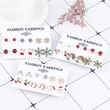 6 Pairs/lot Cute Stud Earrings Christmas Gift for Women Girls Mix Lot Mini Brincos Pequenos Accesorios Mujer Pendientes Hombre