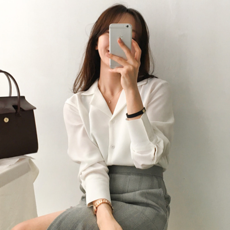 Long Sleeve Blouses Women Tops And Blouses 2019 Sexy V Neck Collar OL Style Female Blouse Tops Wonen White Shirt  Plus Size