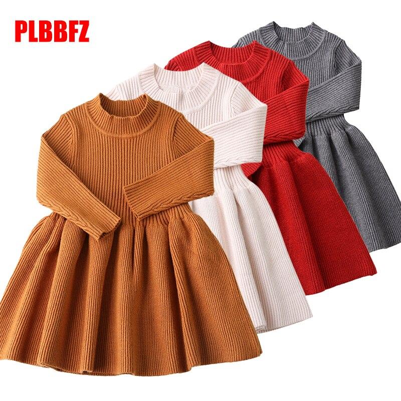 2019 Baby Dresses Girls Autumn Winter Long Sleeved Knit Princess Dress Lotus Leaf Collar Pocket Doll Dress Girls Baby Clothing